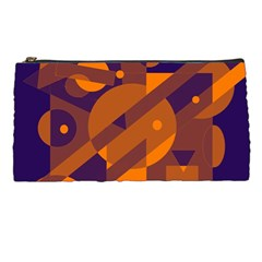 Blue and orange abstract design Pencil Cases