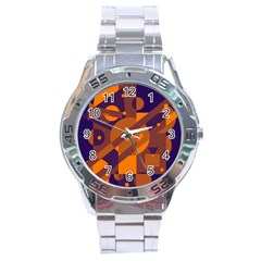Blue and orange abstract design Stainless Steel Analogue Watch