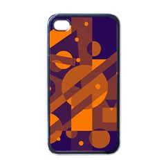 Blue and orange abstract design Apple iPhone 4 Case (Black)