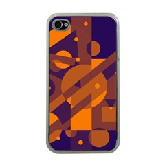 Blue and orange abstract design Apple iPhone 4 Case (Clear)