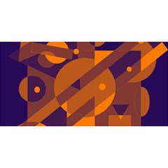 Blue and orange abstract design YOU ARE INVITED 3D Greeting Card (8x4)