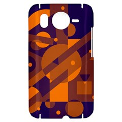 Blue and orange abstract design HTC Desire HD Hardshell Case
