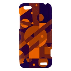 Blue and orange abstract design HTC One V Hardshell Case