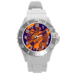 Blue and orange abstract design Round Plastic Sport Watch (L)