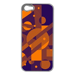 Blue And Orange Abstract Design Apple Iphone 5 Case (silver)