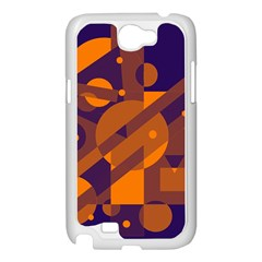Blue and orange abstract design Samsung Galaxy Note 2 Case (White)
