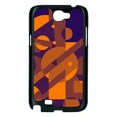 Blue and orange abstract design Samsung Galaxy Note 2 Case (Black)