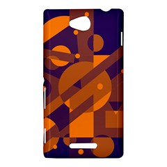 Blue and orange abstract design Sony Xperia C (S39H)