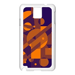 Blue and orange abstract design Samsung Galaxy Note 3 N9005 Case (White)