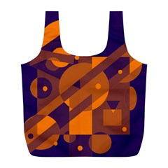 Blue and orange abstract design Full Print Recycle Bags (L)