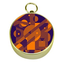Blue and orange abstract design Gold Compasses