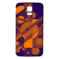Blue and orange abstract design Samsung Galaxy S5 Back Case (White)