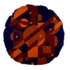 Blue and orange abstract design Large 18  Premium Flano Round Cushions