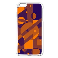 Blue and orange abstract design Apple iPhone 6 Plus/6S Plus Enamel White Case