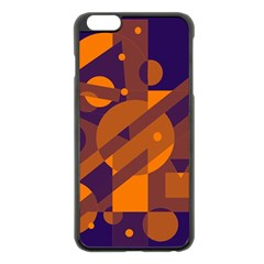 Blue and orange abstract design Apple iPhone 6 Plus/6S Plus Black Enamel Case
