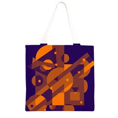 Blue and orange abstract design Grocery Light Tote Bag
