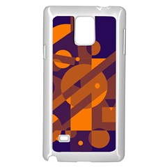 Blue and orange abstract design Samsung Galaxy Note 4 Case (White)