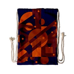 Blue and orange abstract design Drawstring Bag (Small)