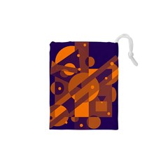 Blue and orange abstract design Drawstring Pouches (XS)