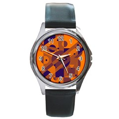Orange and blue abstract design Round Metal Watch