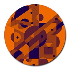 Orange and blue abstract design Round Mousepads