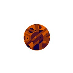 Orange and blue abstract design 1  Mini Buttons
