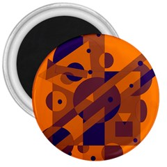 Orange and blue abstract design 3  Magnets