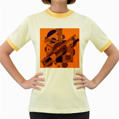 Orange and blue abstract design Women s Fitted Ringer T-Shirts