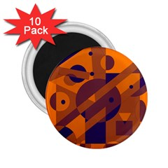 Orange and blue abstract design 2.25  Magnets (10 pack)