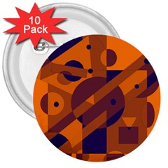 Orange and blue abstract design 3  Buttons (10 pack)