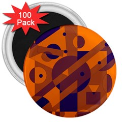 Orange and blue abstract design 3  Magnets (100 pack)