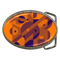 Orange and blue abstract design Belt Buckles
