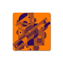 Orange and blue abstract design Square Magnet