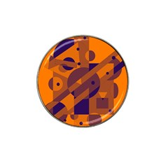 Orange and blue abstract design Hat Clip Ball Marker (4 pack)