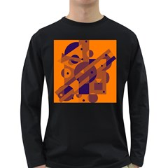 Orange and blue abstract design Long Sleeve Dark T-Shirts