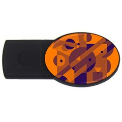 Orange and blue abstract design USB Flash Drive Oval (4 GB)