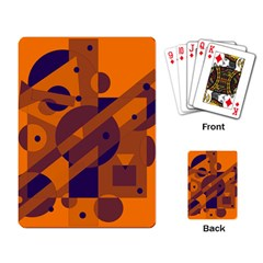 Orange and blue abstract design Playing Card
