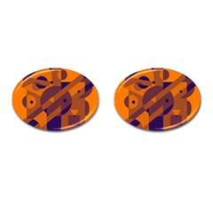 Orange and blue abstract design Cufflinks (Oval)