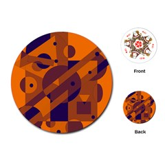 Orange and blue abstract design Playing Cards (Round)