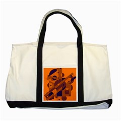 Orange and blue abstract design Two Tone Tote Bag