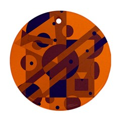 Orange and blue abstract design Round Ornament (Two Sides)