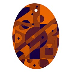 Orange and blue abstract design Oval Ornament (Two Sides)