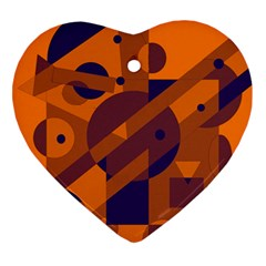Orange and blue abstract design Heart Ornament (2 Sides)