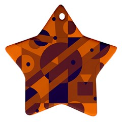 Orange and blue abstract design Star Ornament (Two Sides)