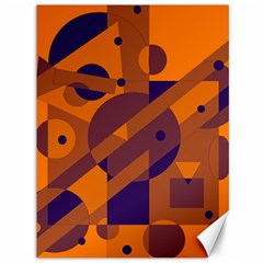 Orange and blue abstract design Canvas 36  x 48
