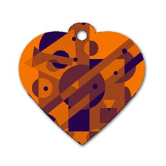 Orange and blue abstract design Dog Tag Heart (Two Sides)