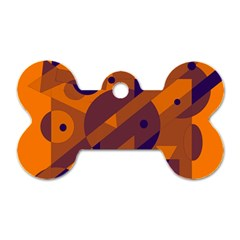 Orange and blue abstract design Dog Tag Bone (One Side)