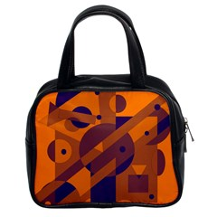 Orange and blue abstract design Classic Handbags (2 Sides)
