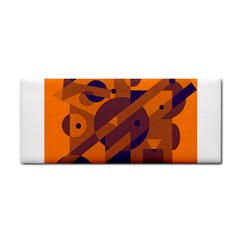 Orange and blue abstract design Hand Towel
