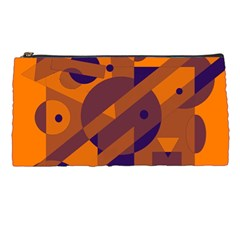 Orange and blue abstract design Pencil Cases